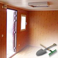 Внутри бытовки устанавливается свет с автоматами против короткого замыкания и окно металлопластиковое.